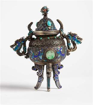 RARE Chinese Export Qing Dynasty SILVER Incense Burner