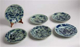 Vintage Chinese Blue & White Porcelain Plates - Signed