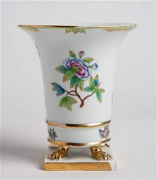 Herend Hungary Queen Victoria Porcelain Flower Pot Vase