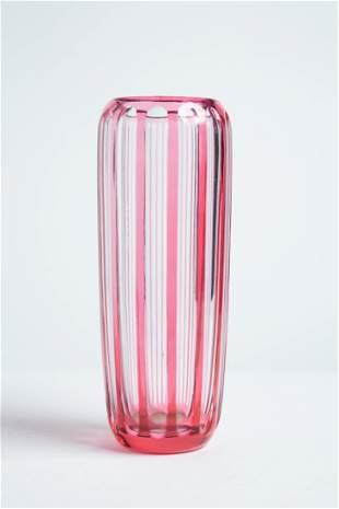 Vintage Hand Cut Modern Stripe Design Crystal Vase.
