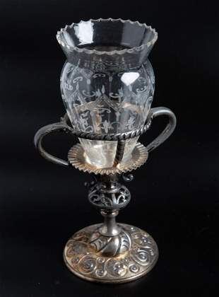 American Etched Crystal Vase with Silver Pl Stand c1930