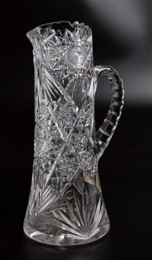 Vintage American Brilliant Hand Cut Crystal Pitcher