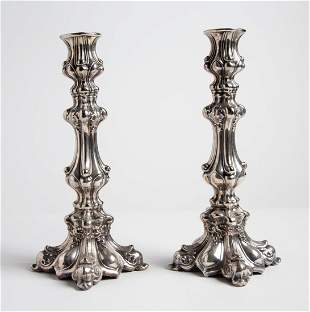 PAIR of Sterling Silver English Candlesticks