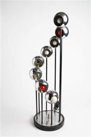 Robert Sonneman Chrome Metal Eye Ball Table Lamp 1970's