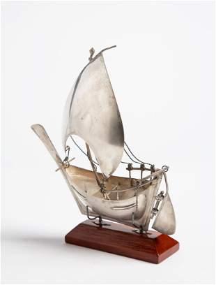 Vintage Silver Sailing Boat c. 1970's
