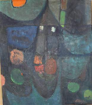 Untitled ABSTRACT ART Gravlin Signed Oil Painting