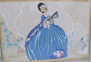 Antique Art Deco Victorian FASHION Print by DAVANZO