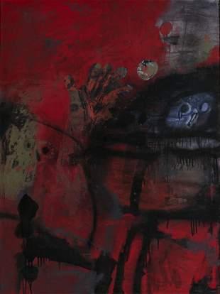 """Antoni Clave (1913-2005), """"Guerrier au fond rouge,"""