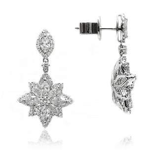Starburst Marquise- Shaped Diamond Tear Drop Earrings