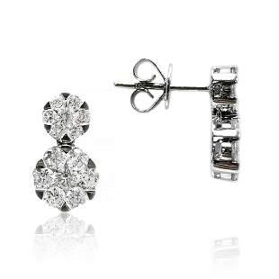 Snowman Diamond Earrings in 18K White Gold