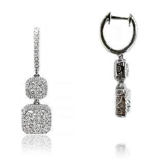 Halo Diamond Drop Hoop Earrings in 18K White Gold