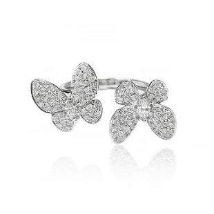 Butterfly Diamond Ring in 18K White Gold