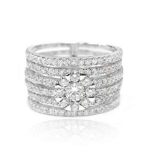 Sextet Diamond Ring in 18K White Gold