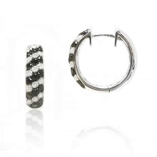 Black and White Diamond Hoop Earrings in 14K White Gold