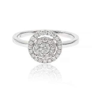 Double Hao Diamond Ring in 14K White Gold