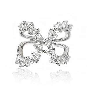 Multi Row Pear- Shaped Diamond Ring in 18K White Gold