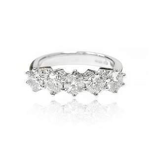 Five Stone Diamond Ring in 18K White Gold