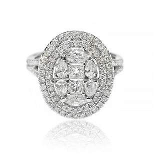 Oval Cut Illusion Double Halo Diamond Ring in 18K White