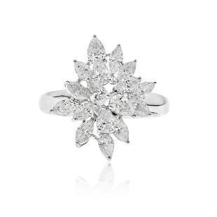 Fancy Cut Diamond Fashion Ring in 18K White Gold