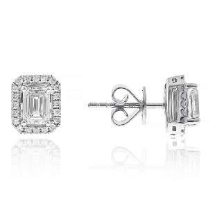 Emerald Cut Diamond Single Halo Earrings in 18K White