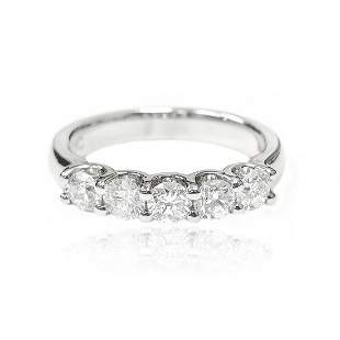 Five Stone Diamond Wedding Ring in 18 K White Gold