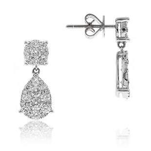 Illusion Set Teardrop Diamond Earrings in 18K White
