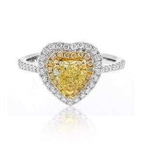 Heart- Shaped Fancy Yellow Diamond Ring in 18K White/