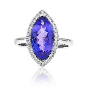 Marquise Shaped Tanzanite Band Ring in 14K White Gold