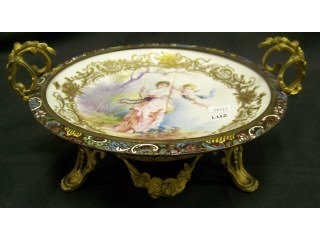 "3377: 8-1/2"" hand painted Sevres plate with"