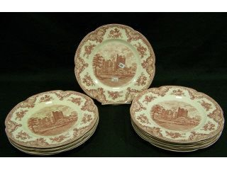 "78: 12 red and white 10"" transferware plates,"