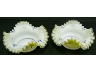 95: Pair of yellow to white satin glass bowls
