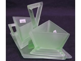 "104: Green frosted glass ""Modernistic"" sugar and crea"