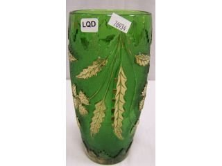 115: Green pressed glass vase with gold flashing,