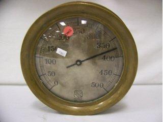 "5004: Brass barometer, 10"" in diameter, by Ashcroft"