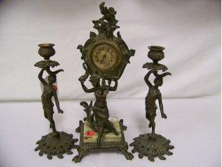 "5005: Fancy metal clock, 12"" high, and pair of 8 1/2"""