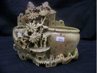 "5010: Very ornate carved soapstone smoking set, 6 1/2"""
