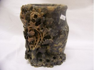 """5011: Carved soapstone vase with bird motif, 7 1/2"""" hig"""