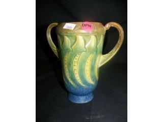 """5016: Roseville Art Pottery """"Falline"""" 2 handled vase,"""