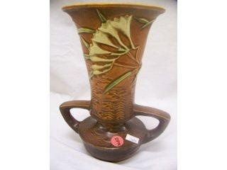 """5018: Brown Roseville Art Pottery 2 handled """"Freesia"""""""