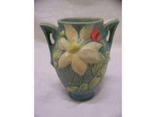 "5020: Blue Roseville Art Pottery 2 handled ""Clematis"""