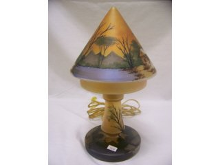 5022: Glass boudoir lamp with reverse painted shade,