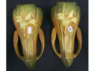 """5048: Pair Roseville art pottery """"Zephyr Lily"""" wall"""