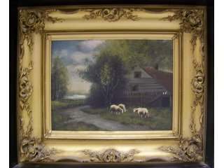 5171: Oil on canvas of sheep in barnyard, signed Durant