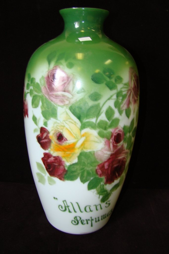 3: Decorated Bristol glass advertising vase, approx.  1