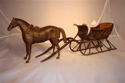 701: 1890s Ives cast-iron cutter sleigh with articulate