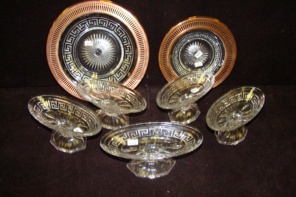 9: Five footed sherbets with cupped rims and two copper