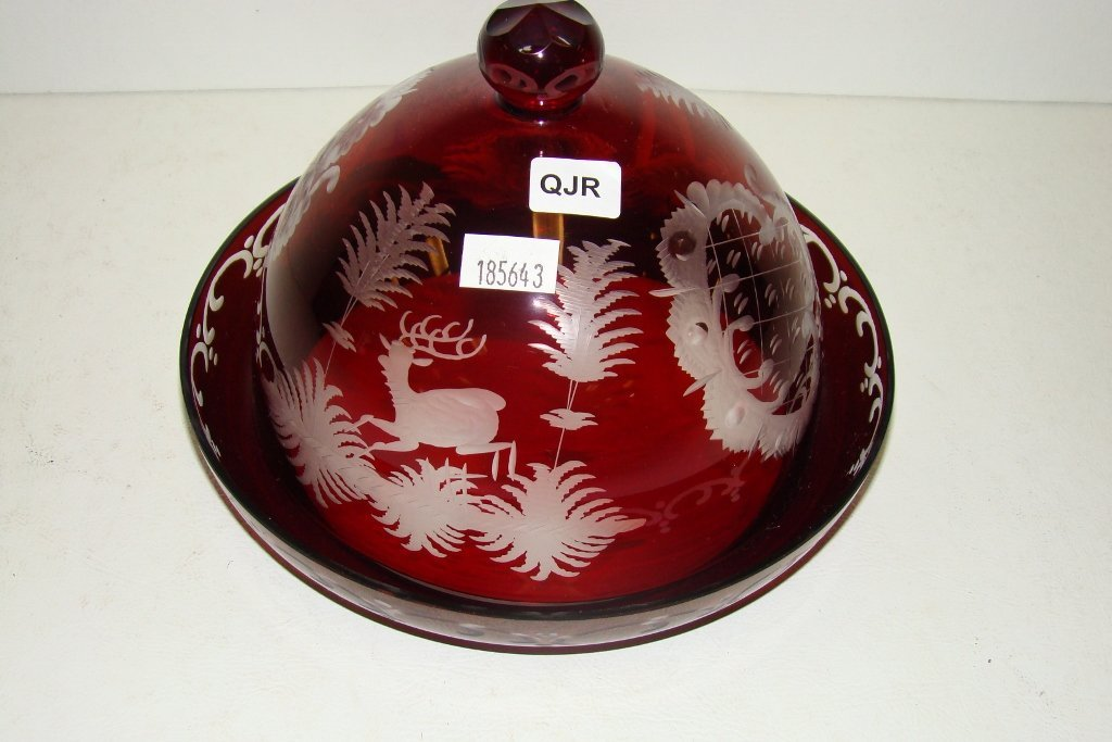 16: A red Bohemian butter dish with dome top decorated