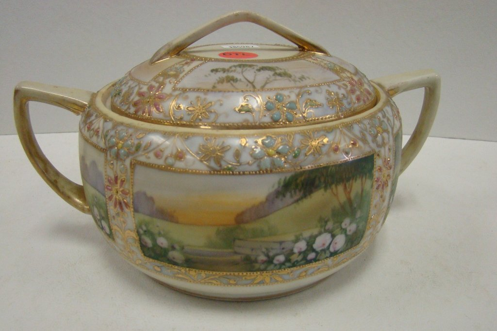 """17: A hand-painted Nippon handled cracker jar 7"""" in dia"""