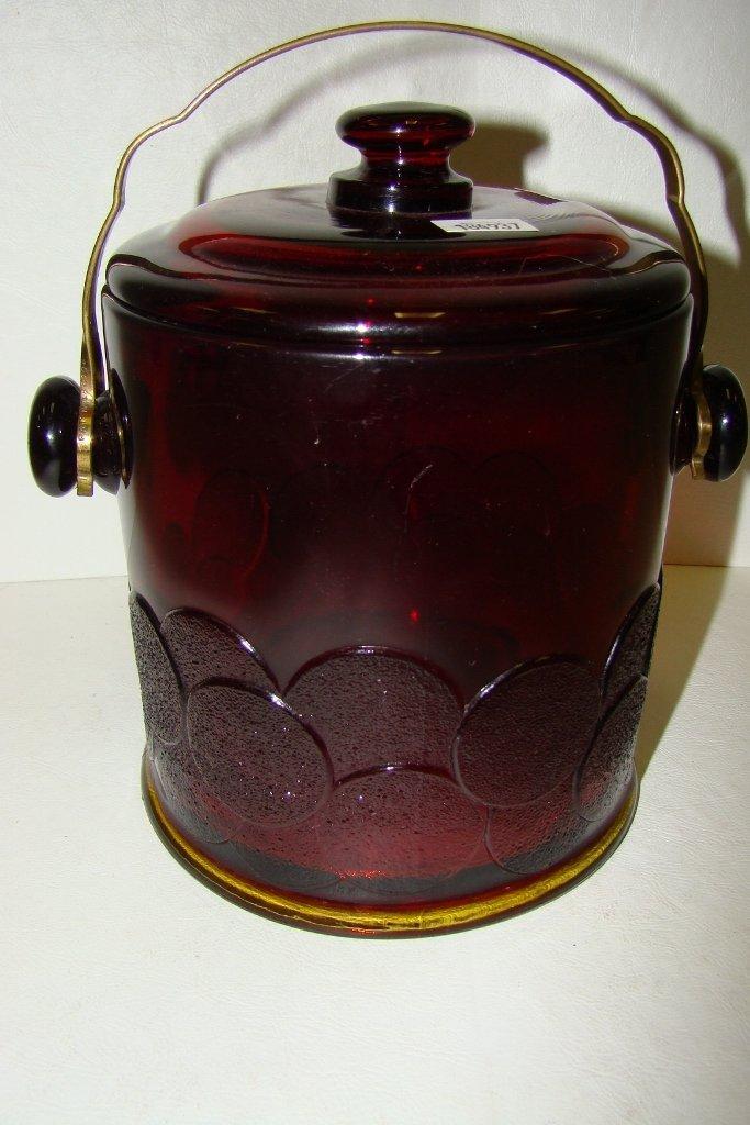 22: A Fenton ruby glass Big Cookies macaroon jar