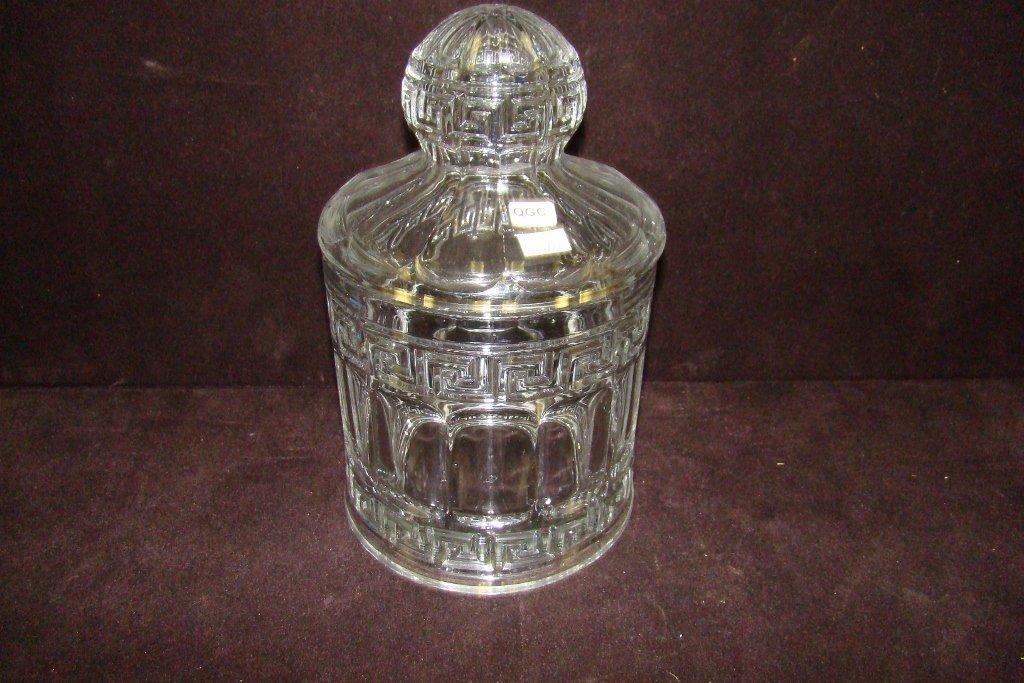 23: Heisey Greek Key two-quart crushed fruit jar with c